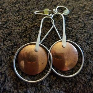 Copper & sterling silver earrings